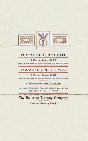Pamphlet for Riedlin's Select & Bavarian Style Beer, Bavarian Brewing Co., Covington, KY - Side 2.