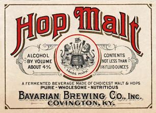 Malt Hop Label, Bavarian Brewing Co., Covington, KY c. 1915.