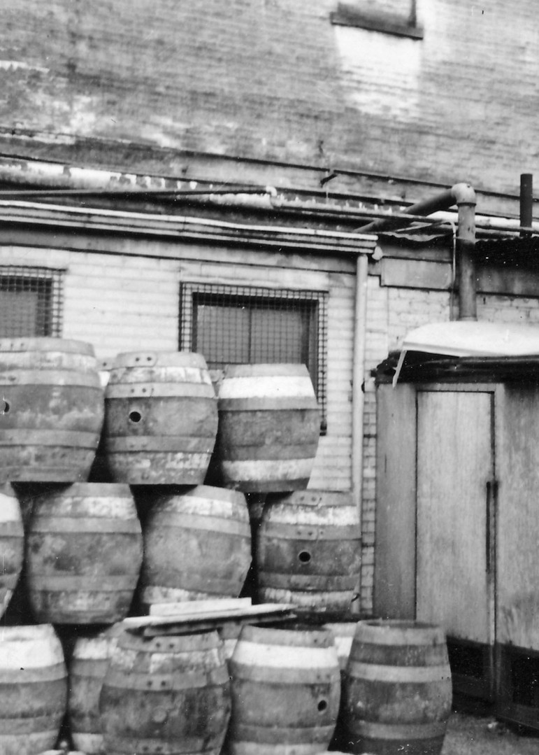 Stacked Wooden Barels at the Bavarian Brewery, Covington, KY