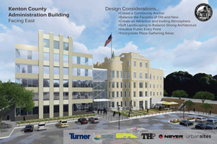 New Kenton County Administration Building Rendering, West and Front Side, Covington, KY