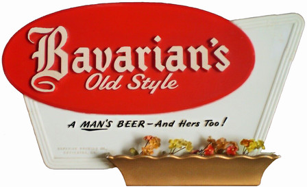Bavarian's Old Style Beer Small Sign with plastic flowers, Covington, KY