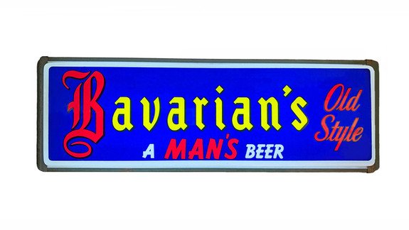 Bavarian's Old Style Beer Blue Background Backlit Sign, Bavarian Brewing Co., Covington, KY.