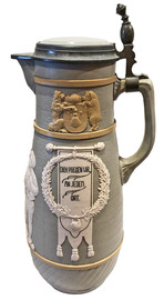 Mettlach 3 Litter Bowing Stein, No. 3025. Right Facing Side.