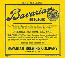 Bavarian Draft Beer 1 Gal Label 1935-194