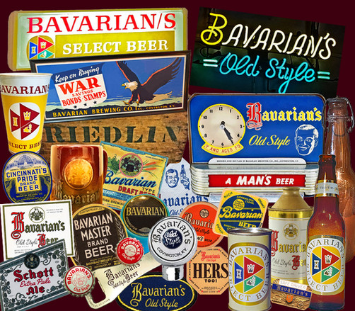 Collage of Breweriana Items for Bavarain Brewing Co., Covington, KY.