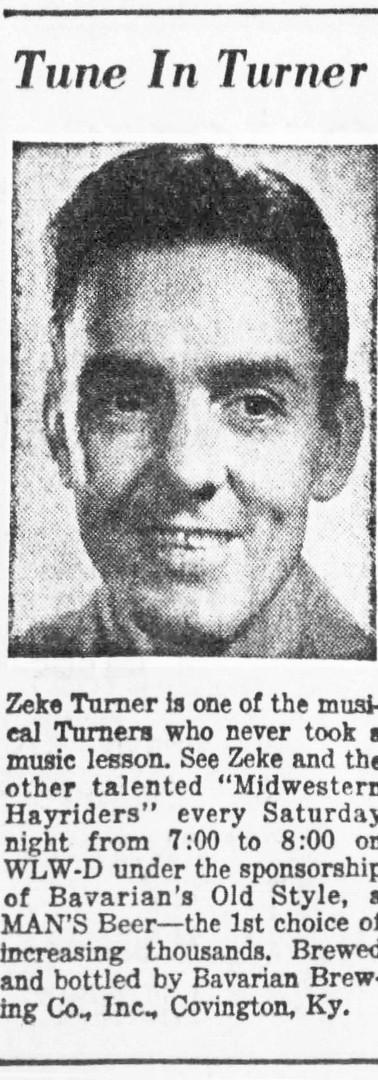 Zeke Turner on Midwestern Hayride, Sponsored by Bavarian's Beer, Bavarian Brewing Co., Covington, KY