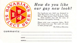 Bavarian'ss Select Beer Comment Card, Covington, KY