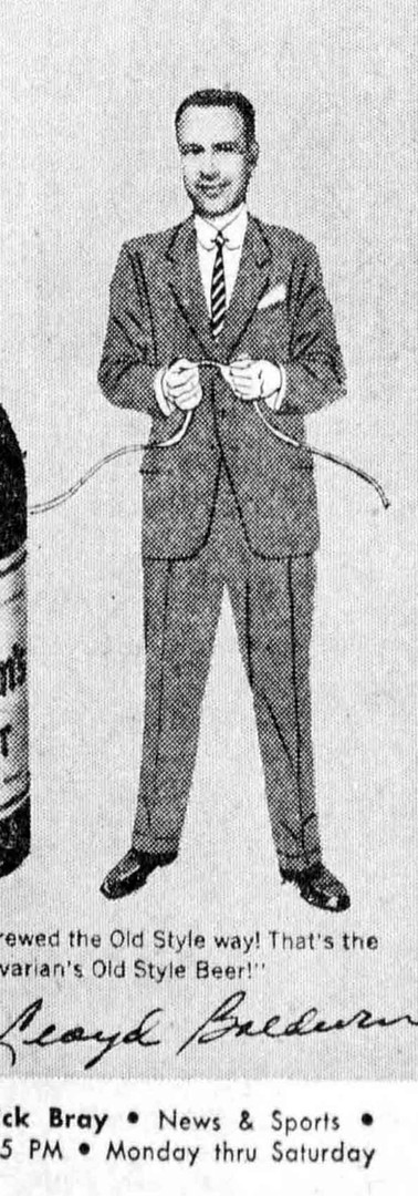 Lloyd Baldwin, News & Sports Announcer on WCKY for Bavarian's Beer, Bavarian Brewing Co., Covington, KY.