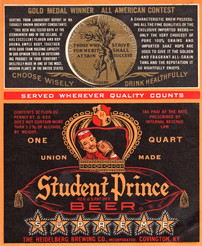 Student Prince Beer, Quart Label with Medal. Heidelberg Brewing Co., Covington, KY.