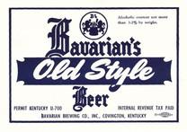 Bavarains Old Style U Permit OH 3.2% Keg Label