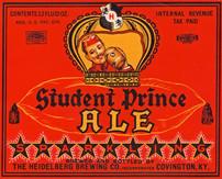 Student Prince Ale Label. Heidelberg Brewing Co., Covington, KY.