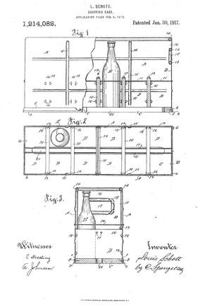 Patent By Louis Schott for a Metal & Wood 12-Bottle Case