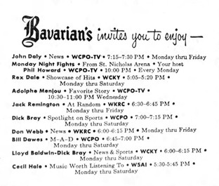 Cincinnati Broadcasts Sponsored by Bavarian Brewing Co., in 1955.