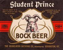 Student Prince Bock Beer Label. Heidelberg Brewing Co., Covington, KY.