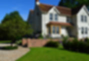 house, driveway, lawn, steps, trees, plants