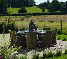 table, chairs, view, meadow, flowers, plants