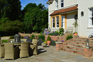 house, garden, chairs, table, decking, paving, bricks, steps, design