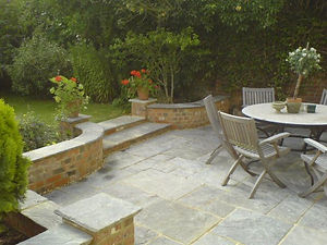 garden, table, chairs, paving