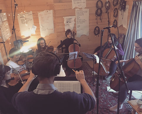 """Recording strings for """"Quiet Island"""""""