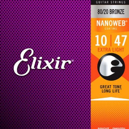 Elixir 11002 Nanoweb Bronze Acustica 10-47