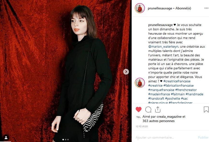 La Blogueuse Prunelle Sauvage parle des petits sacs de Marion