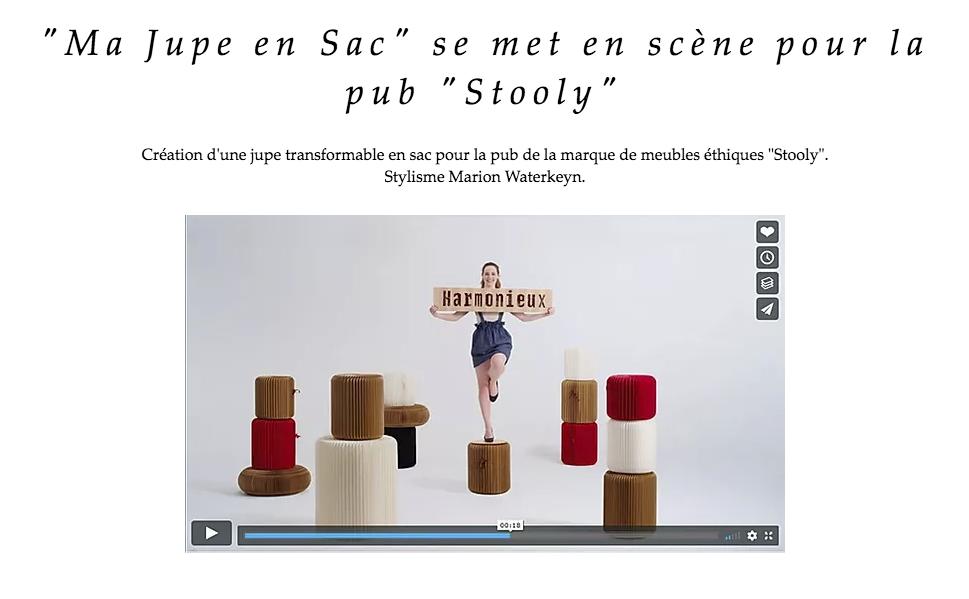 """""""Ma Jupe en Sac"""" se met en scène pour la pub """"Stooly"""""""