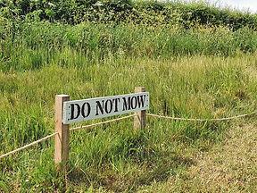 Do not mow sign in Hanley Castle