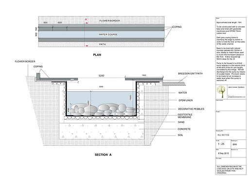 Construction Drawing for Garden Rill