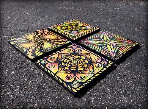 Vibrant Mandala Coaster Set
