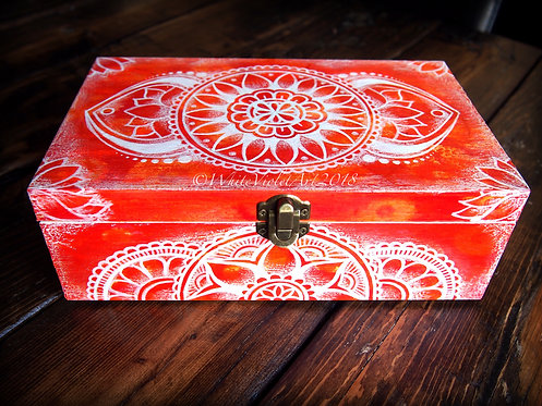 Fiery Orange Lotus Mandala Keepsake Box