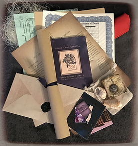 The Lovecraftian Incident, Mysterious Horrors Collection, adventure packages with treasures, trinkets, survival gear, artwork, historical documents, old newspapers, Krampus, Cthulhu, Bigfoot, Hauntings, Ghosts, Lovecraft, from bestselling author, Dawna Flowers, and artist, Shawna Bowman.