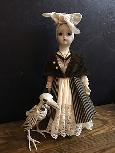 Crone and Crow Photo by Dawna Flowers, Creepy Occult Doll Series