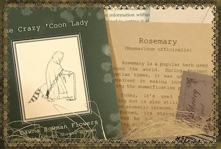 Lady in the Woods, The Crazy 'Coon Lady, Mysterious Horrors Collection, Adventure Packages with treasures, trinkets, survival gear, bookmark, 1700's, 1800's, Mayan artwork, Day of the Dead, Dia de Muertos, historical documents, Mexican culture, books, old newspapers, paranormal, occult, Hauntings, Ghosts, from bestselling author, Dawna Flowers, and artist, Shawna Bowman.
