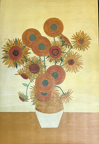 Painting by Dawna Flowers, Folk Rendition of Van Gogh Sunflowers