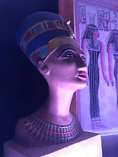 Ancient Egyptian inspired, painted bronze, Nefertiti Bust statue.
