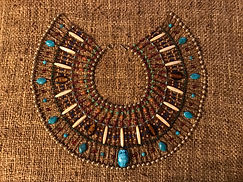 Ancient Egyptian inspired costume jewelry. Scarab collar necklace, cosplay garb by Dawna Flowers. Turquoise Bead Bone Beadwork.