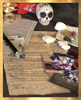 Mysterious Horrors Collection, adventure packages with treasures, trinkets, survival gear, artwork, historical documents, old newspapers, Krampus, Bigfoot, Hauntings, Ghosts, Lovecraft, from bestselling author, Dawna Flowers, and artist, Shawna Bowman. Day of the Dead, Sugar Skulls