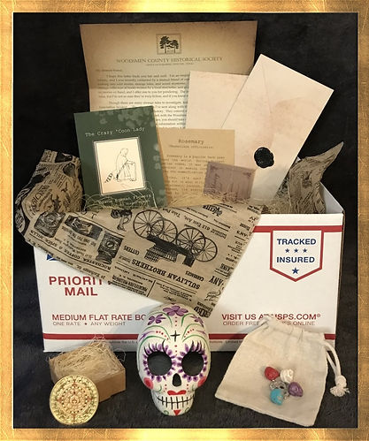 Mysterious Horrors Collection, adventure packages with treasures, trinkets, survival gear, artwork, historical documents, old newspapers, Krampus, Cthulhu, Bigfoot, Hauntings, Ghosts, Lovecraft, from bestselling author, Dawna Flowers, and artist, Shawna Bowman.
