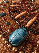 Egyptan Beadwork, Collar Necklace with Scarab, by Dawna Flowers.