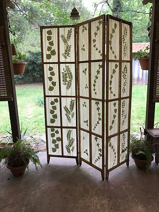 Privacy Screen, Leaved Light Filters, made from leaves and masking tape, by Dawna Flowers. Masking Tape Crafts