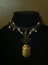 Ancient Egyptian inspired, scarab and chain, necklace by Dawna Flowers. Steampunk