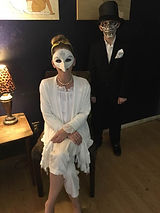Halloween plague masks, lady in white