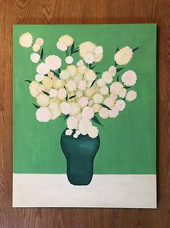 Green Vase, Painting by Dawna Flowers, Folk Rendition of Van Gogh