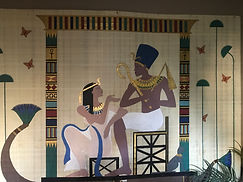 The Nile, Ancient Egyptian inspired, mock papyrus, acrylic painting, by Dawna Flowers