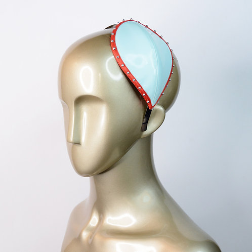 Baby Blue and Red Fascinator