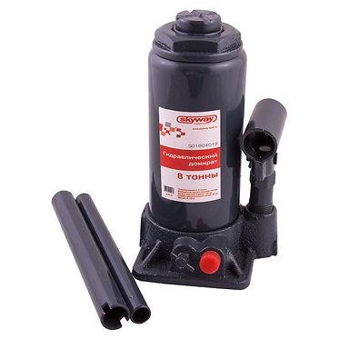 Домкрат гидравлический бутылочный 8т h 200-385мм SKYWAY с клапаном в кейсе