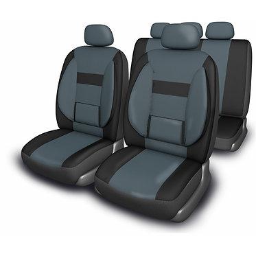 Чехлы сиденья SKYWAY Protect Plus- 1 велюр/сетка11 предм. черно/темно-серый