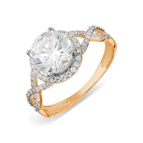 Кольцо золотое  с бриллиантами и топазом Сваровски