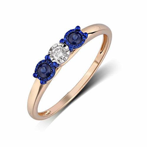 Кольцо золотое с сапфирами и бриллиантом