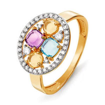 Кольцо золотое с топазом и аметистом